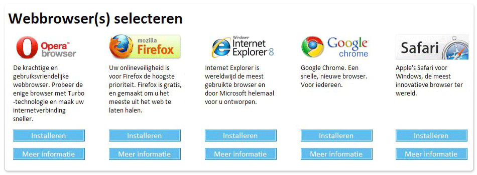 Windows browserkeuzescherm