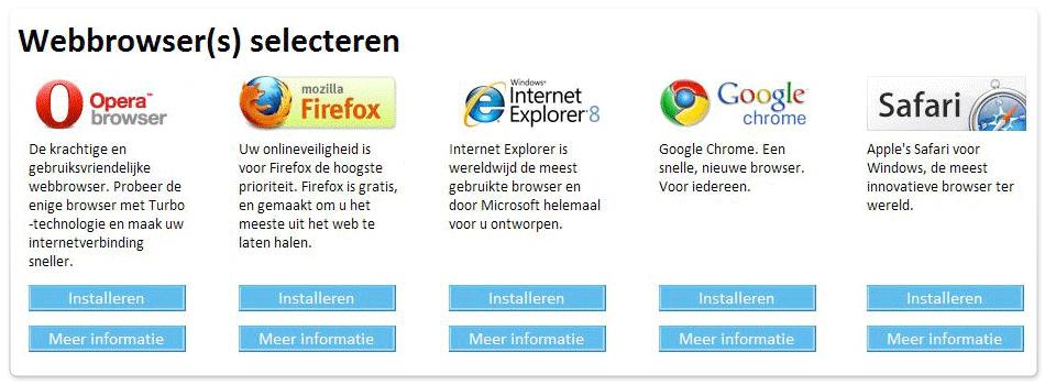 Windows browserkeuzescherm